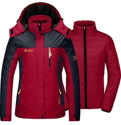 GEMYSE Damen 3 in 1 wasserdichte Skijacke Funktionsjacke Warm Winterjacke Winddichte Outdoor Wanderjacke Doppeljacke Regenjacke(Rot,EU M)