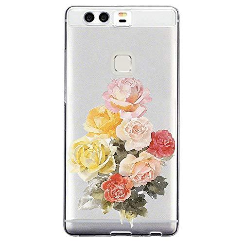 Funda compatible con Huawei P9 Lite 2017, transparente, antiamarilla, silicona, diseño de flores, funda de silicona ultrafina, ultraligera, sin deslizamiento 7 Talla única