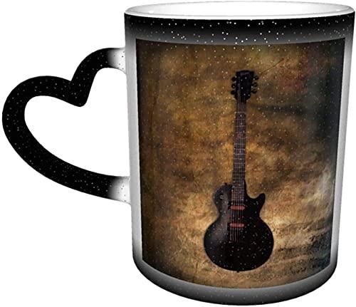 MENYUAN Tazas de café guitarra estilo vintage calor sensible color cambiante taza en el cielo taza de cerámica regalos personalizados para los amantes de la familia amigos
