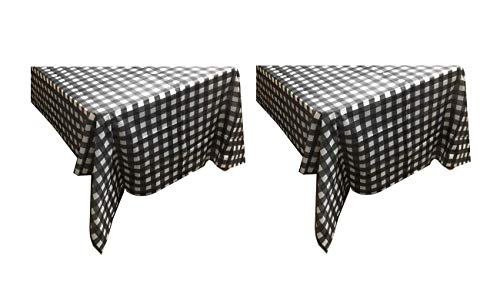 Sweet Online Deal Premium Plastic Table Cover Black & White Plaid Checker 54 x 108 Inch Rectangular – 2 Pack Tablecloths (Black)