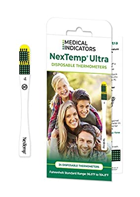 NexTemp Ultra 24 Pack - Disposable Thermometer, Individually Wrapped - Fahrenheit - Superior Accuracy and The Ultimate in Infection Control - Extended 1-Min Signal Retention