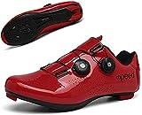 KUXUAN Calzado de Ciclismo Hombre Mujer Calzado de Bicicleta de montaña Calzado de Bicicleta de Carretera con Bloqueo automático Calzado Deportivo asistido para Ciclismo al Aire Libre,Red-45