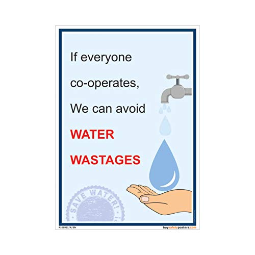buysafetyposters.com - Save Water Slogan Poster In English Eco Vinyl Sticker (2 ft X 3 ft, 24 inch X 36 inch, Multicolor)