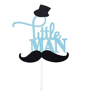 Rainlemon Glitter Blue Mustache Little Man Cake Topper Birthday Party Baby Shower Gender Reveal Cake Decoration