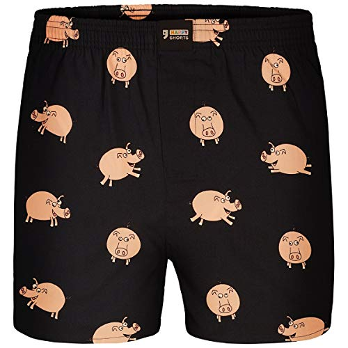Happy Shorts Boxershorts Herren/Web-Boxer mit Jersey-Inlay – Modell: Piggies S