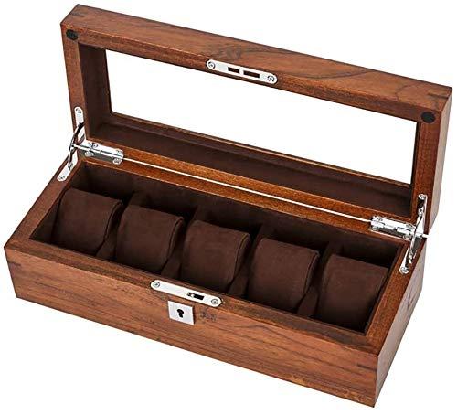 Angemessene Entwurf und einfach zu bedienen Wooden Watch Box, Uhr-Kasten-Import Holz-Speicher-Fall-Kasten mit Glasplatte, 5 Slot-Uhr-Vitrine, einstellbare Soft Ingenuity, verpassen Sie nicht jedes Det