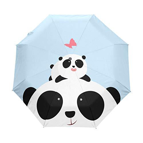 Paraguas de viaje compacto con diseño de oso panda de dibujos animados, cierre automático, resistente al viento, anti-UV