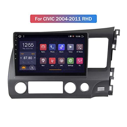 HP CAMP Android 9.1 8 Core Autoradio für Honda Civic 2004-2011, Supporta la Fotocamera di Backup/Microfono/CarPlay/DSP/Bluetooth 5.0 / SWC/mappe Offline Online,WiFi 4g+64g