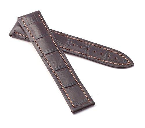 BOB Herren Faltschließband Marino Alligator kompatibel Omega 20 mm Mokka braun/braun