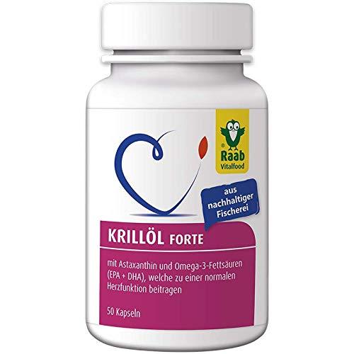 Raab Vitalfood Krillöl Forte, 50 Kapseln aus nachhaltiger Fischerei mit Astaxanthin, Omega-3 EPA und DHA für normale Herzfunktion, laborgeprüft