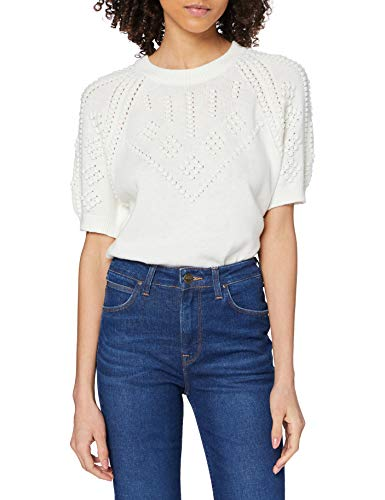 French Connection Karla Knitted SSLV Top Maglione, Bianco Estivo, L Donna