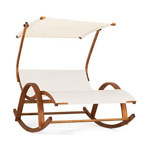Ampel 24 dubbele schommelstoel Olinda met verstelbaar dak, relaxstoel met armleuningen, tuinmeubel uit voorbehandeld hout, stoelbespanning créme-wit, waterbestendige tuinstoel
