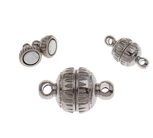 Perlin - Lot de 10 fermoirs magnétiques pour chaîne - 11 mm - Ronds argentés - Fermoir magnétique - Accessoires de bijoux - Fabrication de bijoux - M478 x2