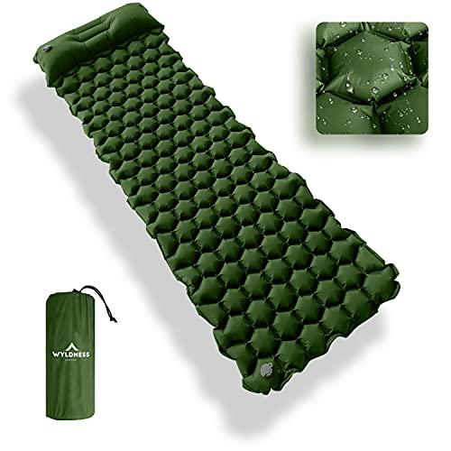 Aufblasbares Einzelbett Outdoor Schlafbett mit integriertem Kissen und Aufbewahrungstasche - Ultraleichte & wasserdichte Luftmatratze für Wandern, Camping, Rucksackreisen (Grün)