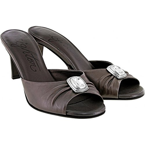 Brighton Russia Pewter Leather High Heel Jeweled Shoes (8M)