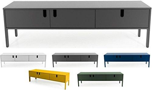 Tenzo 8571-014 UNO Designer Lowboard 2 Türen, 1 Schublade, Grau lackiert, MDF + Spanplatten, matt Soft-Close Funktion, 50 x 171 x 46 cm (HxBxT)