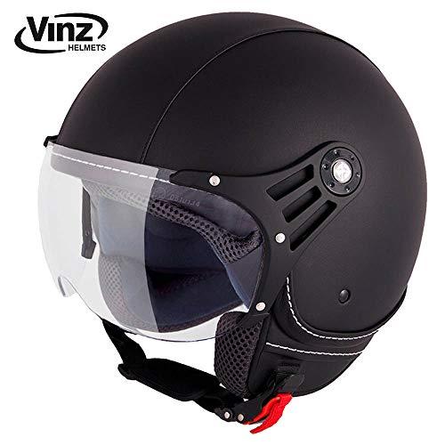Preisvergleich Produktbild Vinz Motorradhelm Rollerhelm Jethelm Jet Helm Fashionhelm schwarz Lederhelm in Gr. XS-XL / Helm mit Visier / ECE zertifiziert (M)