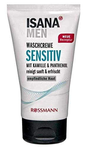ISANA MEN Waschcreme sensitiv für empfindliche Haut, mit Kamille & Panthenol, reinigt sanft & erfrischt, vegan, 150 ml