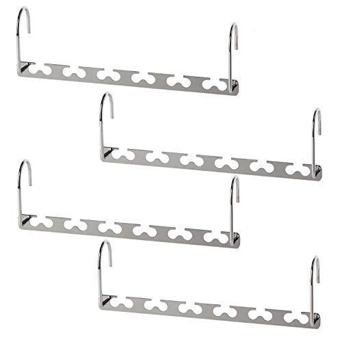 Bloberey Space Saving Hangers Metal Magic Cascading Hanger 10 Inch 6 x 2 Slots Closet Clothing Hanger Organizers(Pack of 4)
