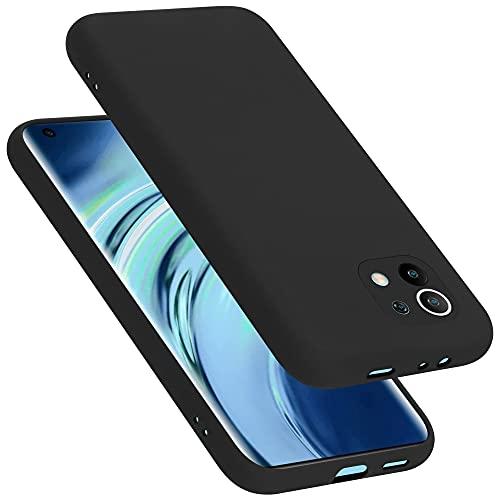 Cadorabo Custodia compatibile con Xiaomi Mi 11 5G in LIQUID NERO - Morbida Cover Protettiva Sottile di Silicone TPU con Bordo Protezione - Ultra Slim Case Antiurto Gel Back Bumper Guscio