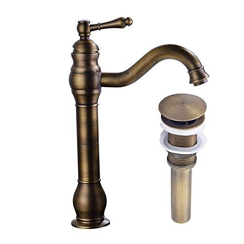 MEIBATH Badezimmer Waschbecken Mischbatterien Antik Messing Arbeitsplatte Wasserhahn Vessel Tap + Waschbecken Pop up Drain (kein Überlauf) Wasserhahn Badarmatur Waschtischarmaturen