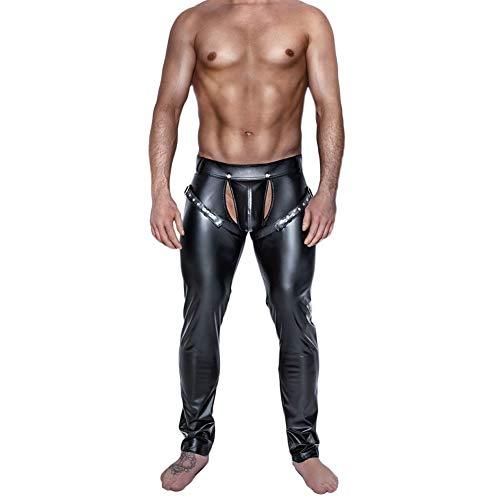 Fxwj Herren Leder Latex Lange Hosen Wetlook Pants Atmungsaktive Ausbuchtungs Unterwäsche,Black,L