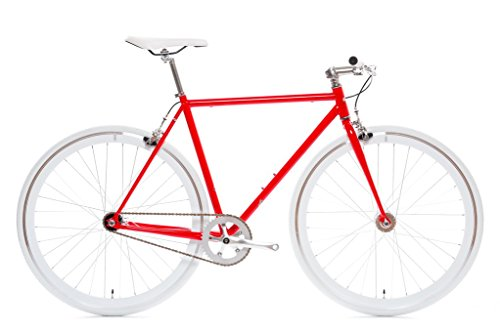 State Bicycle Fixed Gear/Fixie Single Speed Bike, Flip - Flop Hub, Vans Grips (Hanzo (Red), Small (50 cm))