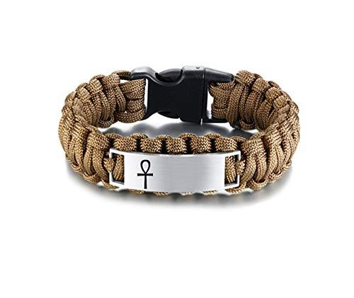 NJ personalisierte Ankh Armband für Männer-Edelstahl Typenschilder Datum Benutzerdefinierte Paracord Seil Ankh Kreuz des Lebens Armbänder Survival Cuff Armreif für Männer Jungen,kostenlose Gravur