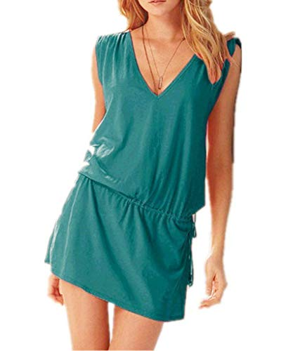 ERGEOB® Kurzes Luftiges Damen Sommerkleid mit tiefem V-Ausschnitt in Türkis - Rückenfreies Freizeitkleid Ideal als Bikini Cover Up, Strand, Urlaub, Pool, Meer, See, Sommernächte, Party.