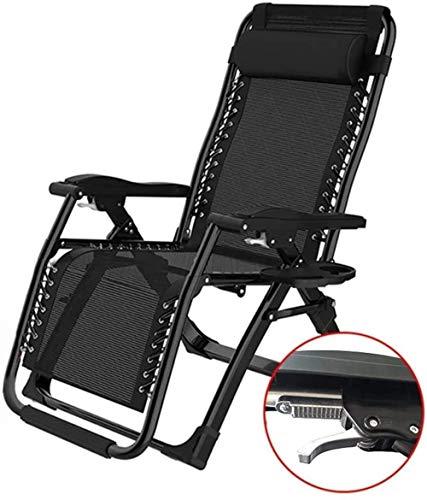Sonnenliege Klappliegestuhl Tragbare Liegestuhl im Freien Garten Terrasse Liegestuhl Büro Stuhl speist mit abnehmbaren Polsterträgern 200 Kg Schwerelosigkeit Stühlen xiuyun (Color : No Cushion)
