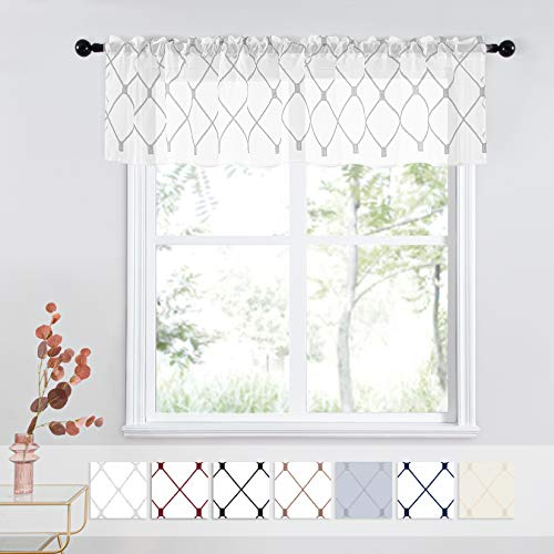 Top Finel White Kitchen Sheer Curtains Valance 18 Inch Length Grey Embroidered Rod Pocket Small Window Curtains for Basement Bathroom, 2 Panels