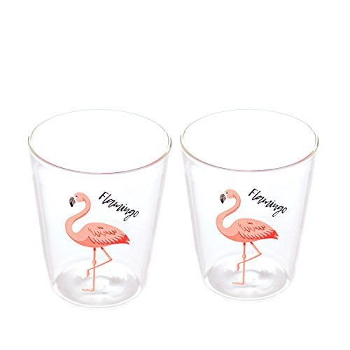 Vasos de cristal transparente con forma de flamenco de 400 ml, juego de dos para leche, café, té, frutas, zumo