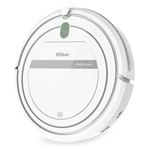 Aiibot Aspirador Robot con Sistema de Limpieza de 3- Etapas, Sensor Inteligente de Detención de Caídas, Filtro HEPA, para Partículas Pequeñas/Piso Duro/Alfombra de Pila Baja (T288-white-1)