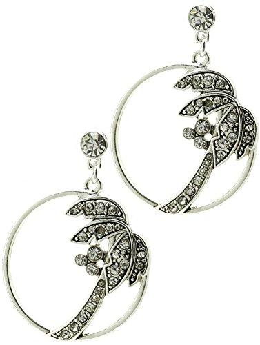Beyoutifulthings 1 par de pendientes de mujer de acero inoxidable de color plateado envejecido con incrustaciones de coco en círculo, longitud: 4,5 cm.