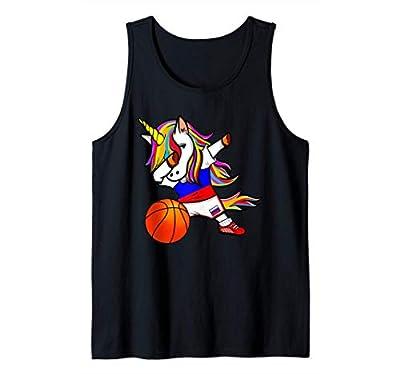 Dabbing Unicorn Unicornio Rusia Baloncesto - Bandera rusa Camiseta sin Mangas
