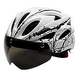 Harilla Casco de Bicicleta Ajustable Carretera montaña Ciudad Casco de Bicicleta Urbana Casco de Choque con Gafas de Sol magnéticas Desmontables 56-62cm - Blanco