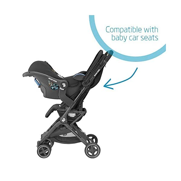 Maxi-Cosi Lara2. Lightweight, Compact Pushchair, Easy-to-fold, from Birth up to 4 Years, up to 22 kg, Essential Graphite Maxi-Cosi Pushchair for baby and toddler, from birth up to 4 years, up to 22 kg The ultra-compact and lightweight design makes the lara² easy to carry thanks to its shoulder strap and easy to store in even the smallest places Unique one-hand flash fold: press the push bar and the pushchair will automatically fold 5