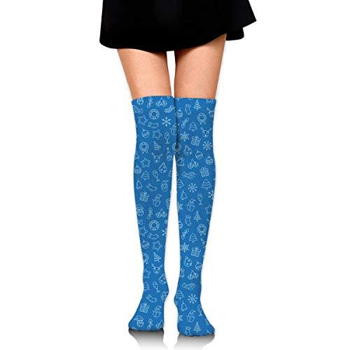 Mujeres Niñas Rodillas Calcetines altos Azul Navidad Copo de nieve Estrellas Árbol...