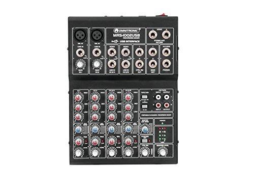 Omnitronic MRS-1002USB Recording-Mixer   Kompaktes Audiomischpult mit 10 Eingängen und USB-Schnittstelle   Integriertes USB-Audio-Interface erlaubt Aufnahmen und Wiedergabe mit einem Computer