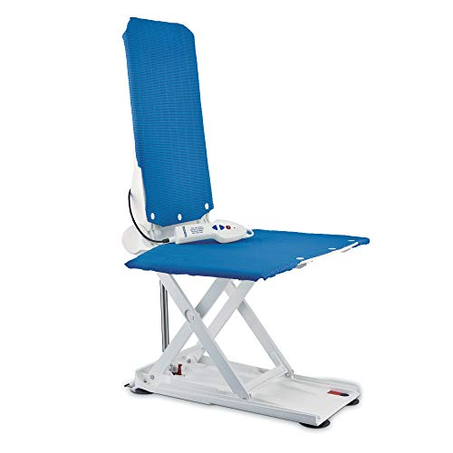 Aquatec R Reclining Back Bath Lift, Elevating Lift with Hand Remote, 300 lb. Weight Capacity, Blue, 1573972