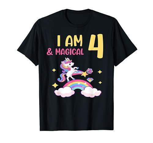 Girls I am 4 & Magical Birthday Unicorn Rainbow 4 años Camiseta