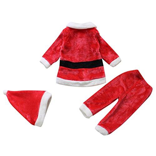 Le SSara Bebé 3pcs Navidad Santa Claus Traje Traje Sombrero + Capa + pantalón (6-12 Meses)