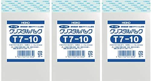 シモジマ ヘイコー 透明袋 OPP袋 クリスタルパック テープ付 T7-10 × 3袋(開封口止め用シール付き)セット