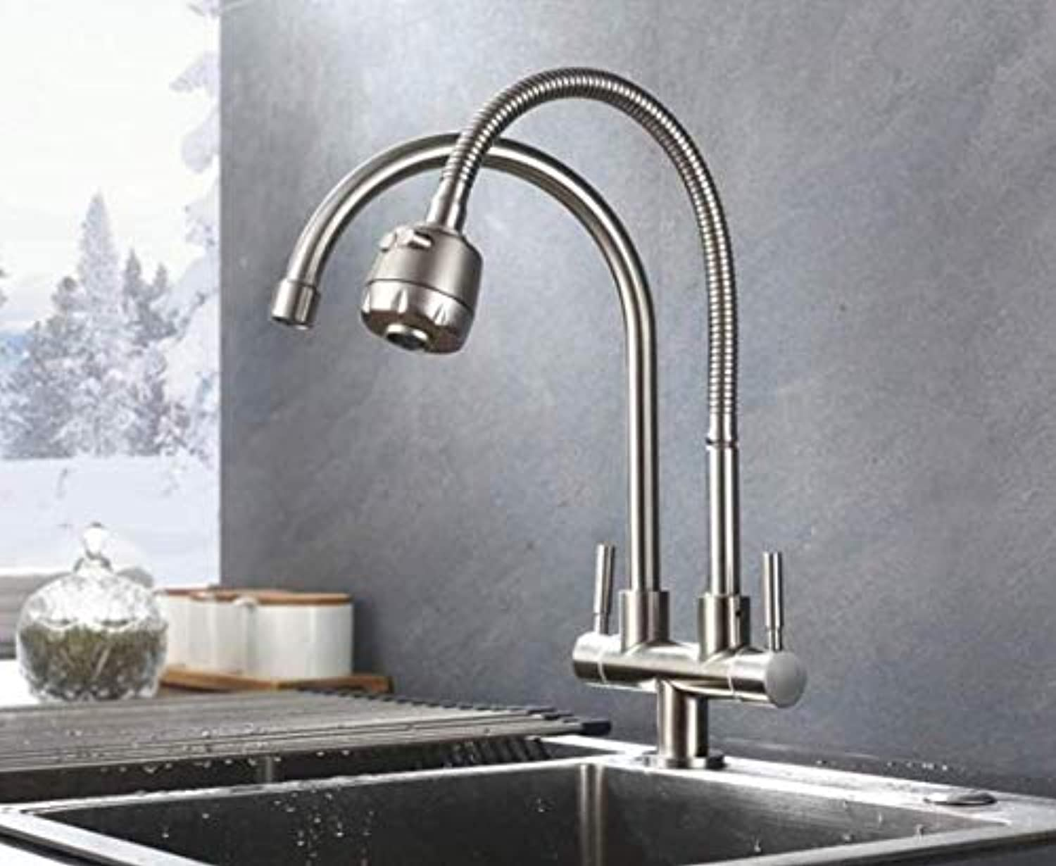 Kitchen fauct Reversible redary 304 Sink Faucet Single Cold Kitchen Faucet Twin Dual Cooling and Heating Basin (color   -, Size   -)