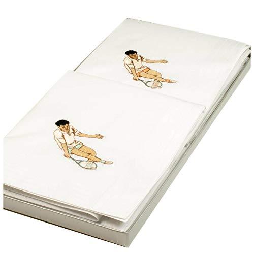 Merrysquare Mouchoirs en tissu brodés Wimbledon - 41cm x 41 cm - x 2