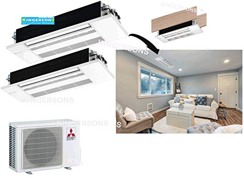 Mitsubishi 24,000 BTU 1.5 TON 2 x 12,000 BTU One Way Ceiling Cassette Dual Zone System - SEER 20 AC & Heat Pump Ductless Ceiling Recessed Cool & Heat Energy Star
