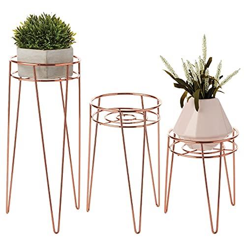 mDesign Midcentury - Macetero minimalista moderno con diseño de flores, plantas y suculentas (metal, interior y exterior, 3 unidades), color oro rosa