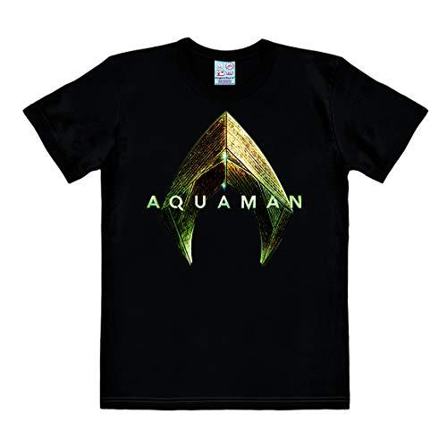 Logoshirt - Pelicula - DC Comics - Aquaman - Logo - Camiseta Hombre - Negro - Diseño Original con Licencia, Talla S