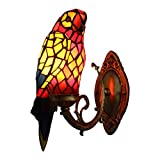 Tiffany Parrot Wall Sconce Lamp, XINDAR LED Unique Design Jewelries Glass Mirror Front Light Fixture Bedroom Beside Wall Light (B)