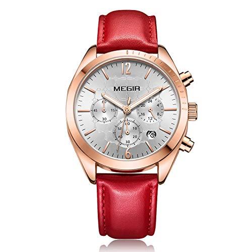 Reloj Mujer Reloj de Pulsera para Mujer (Cuarzo, Resistente al Agua, Correa de Piel auténtica)